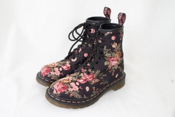 black floral doc martens