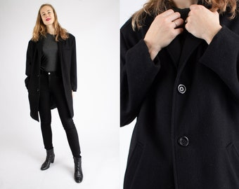 1990s Vintage Black Clockwork Wool Overcoat Autumn Spring Coat for Men or Women