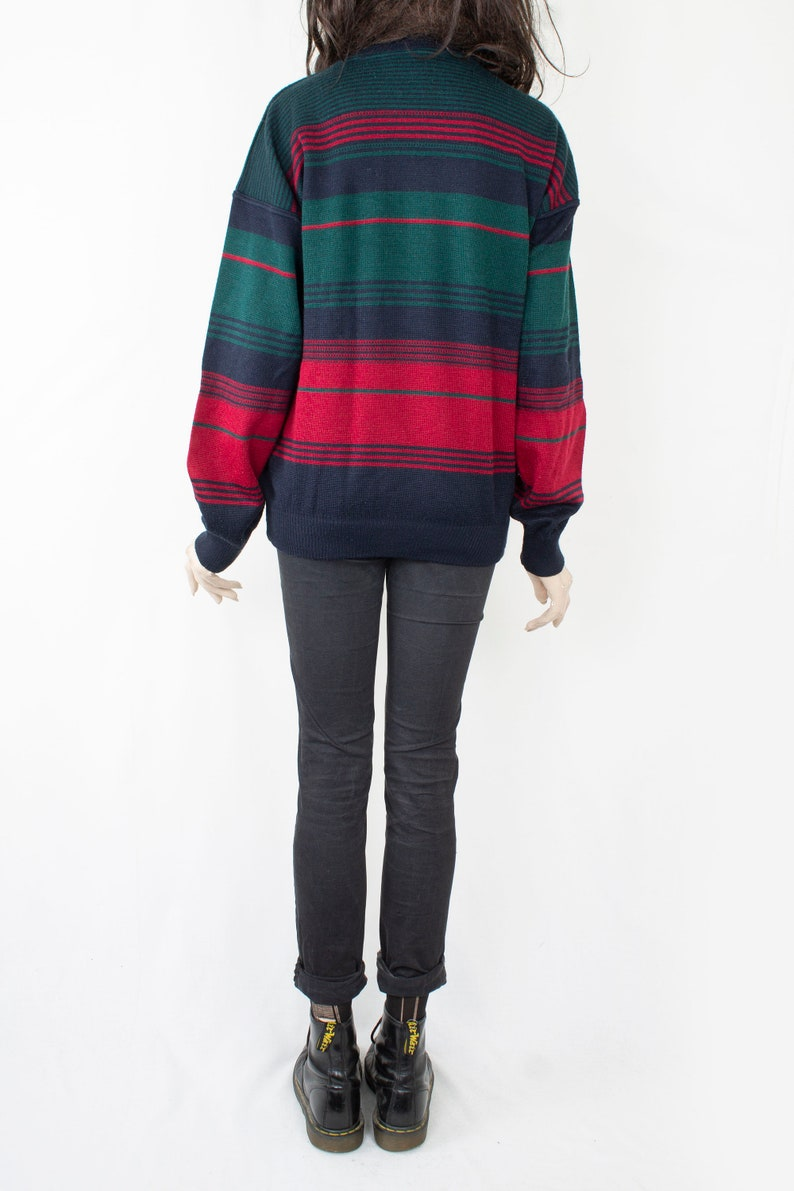 80s Vintage Warm Cosy Comfy Green Crimson Striped Patterned Sweater Vroom /& Dreesmann Classics for Women or Men