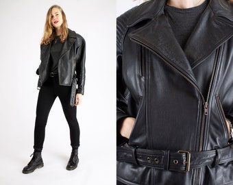 1980s Vintage Black Leather Heavy Perfecto Motorcycle Jacket Road Warrior Authentic Badass Zipper Sturdy for Women or Men