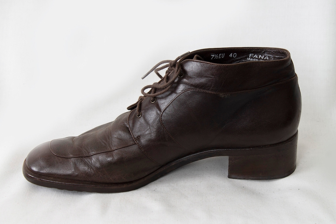 US9.5 Vintage 90s Walk Brown Leather Elegante Botines para Mujeres tamaño EU40 / UK7.5 / US9.5