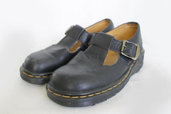 US6 Dr Martens Vintage Black Leather Mary Janes Made in England Doc Martens Shoes EU37 US6 UK4 for Women