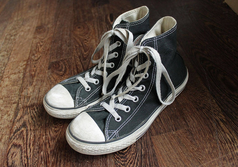 971787b1caa845 80s Vintage Black Converse All Star Chuck Taylor Sneakers for