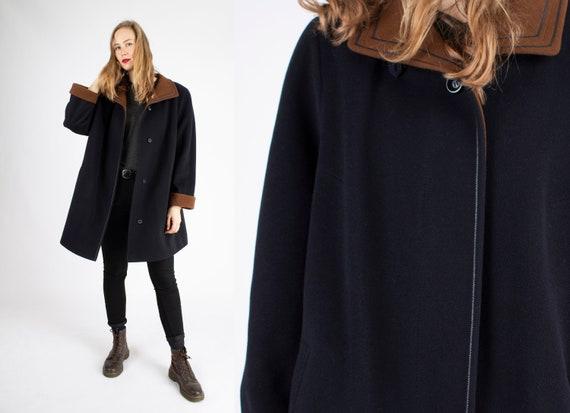 Vintage Wool Jacket Women Large Woolly Jacket Gray Warm Winter Jacket Women L 80s Oversized Jacket Wool Blazer Jacket Dark Wool Coat Women L