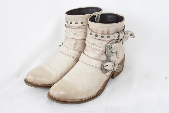US7.5  Western Womens Ankle Boots/ Buckled and Bel