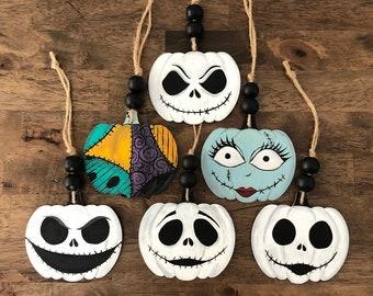 Hand Painted Halloween Ornaments, Halloween Ornaments, Halloween Decor, Painted Wood Ornament, Gothic Ornament, Spooky Ornaments, Pumpkin