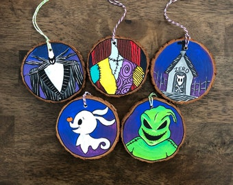 Hand Painted Halloween Ornaments, Halloween Ornaments, Halloween Decor, Painted Wood Ornament, Gothic Ornament, Spooky Ornaments