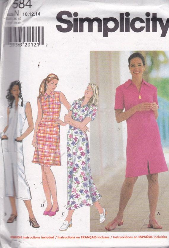 Simplicidad 7584 patrón Vintage mujer tirar de vestido en 4 | Etsy