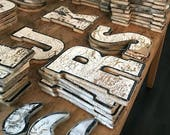 Letter H - Vintage Painted Wooden Letter Salvaged Distressed Chipped Paint Rustic Home Decor Fixer Upper Farmhouse Authentic Antique