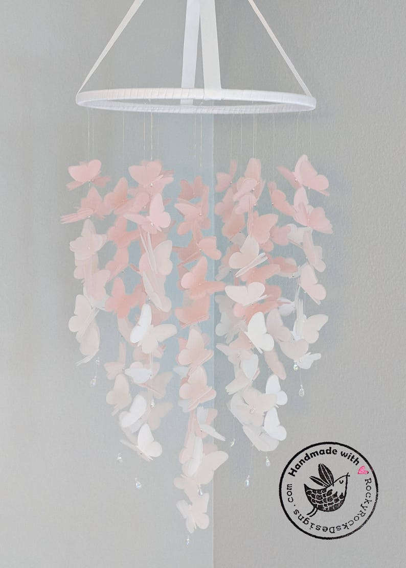 Large Vellum Butterfly Mobile  OMBRE  Pastel Pink and White image 0
