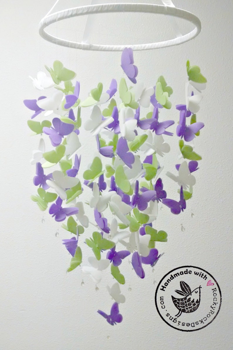 Medium Vellum Butterfly Mobile in Violet Leaf Green and White image 0