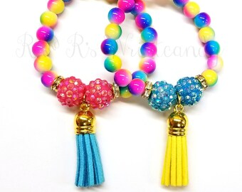 Colorful Tassel Beaded Bracelets, Girls Bracelets, Best Friends Bracelets, Stretchy, Party Favors, Custom, Handmade Beaded Jewelry