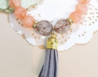Beaded Bracelet, tassel Bracelet, Stretch Bracelet, Pastel Beaded Bracelet, Handmade Custom, Women's Jewelry, Bridesmaid GiftBead