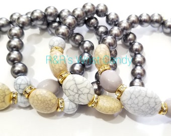 Grey Marbelized Beaded Bracelet Set, Stretchy, Stack, Minimalist, OOAK, Boho, Women Gifts, Handmade Custom Beaded Jewelry