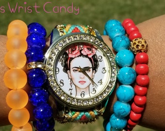 Frida Kahlo Watch, Beaded Bracelet Set, Bracelet Stack, Colorful, Mexican, Artist, Retro, Stretchy, Handmade, Custom Beaded Jewelry