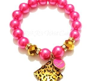 Pink, Leopard, Charm, Beaded Bracelet, Stretchy, Women Gifts, Custom Handmade Jewelry