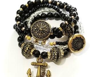 Anchor Bracelet, Black, Bronze, Beaded Bracelet,Nautical, Bracelet Stack, Women Bracelets, Stretchy, Custom, Handmade Beaded Jewelry