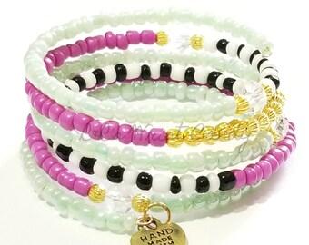 Colorful Beaded Coil Bracelet, Wrap Bracelet, Stretchy, One size, OOAK,Black, White, Gold, Purple, Green, Custom, Handmade Beaded Jewelry