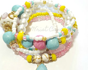 White, Light Blue, Pink, Yellow Beaded Bracelet Set, Stretchy, OOAK, Womens Gifts, Boho, Custom Handmade Beaded Jewelry
