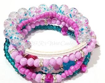 Purple, Blue, Silver, Pink Beaded Bracelets, Stretchy, Summer, Boho, Women, Bridal, Stackable, Custom, Handmade Beaded Jewelry