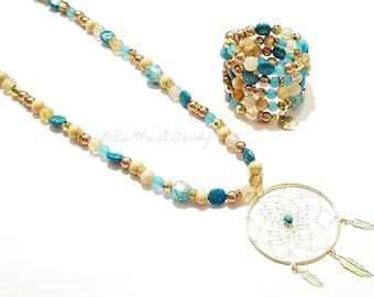 Dream Catcher Necklac, Beaded Bracelet Set, OOAK,  Stretchy, Women Gifts, Custom Handmade Beaded Jewelry