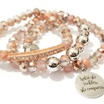 What She Tackles She Conquers Beaded Bracelet, Stretchy Bracelet, Rose Gold, Silver OOAK, Inspirational Custom Handmade Beaded Jewelry