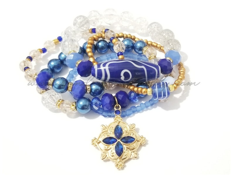 Blue Beaded Bracelets Gold OOAK Pendant Stretchy Stack image 0