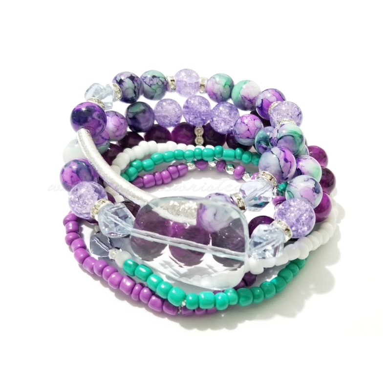 Multicolor Beaded Bracelets Colorful Bracelets OOAK Purple image 0