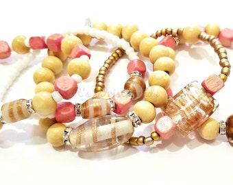 Brown, Pink, White, Beaded Bracelets, Boho, Minimalist,Beach, Summer, Gift,Bridal,Stack, Custom, Handmade Beaded Jewelry