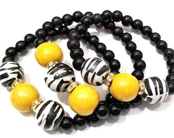 Zebra, Animal Print, Yellow, Wood Beaded Bracelet Set, Black, Stretchy,Boho, Minimalist, Gifts, Women, Custom, Handmade Beaded Jewelry