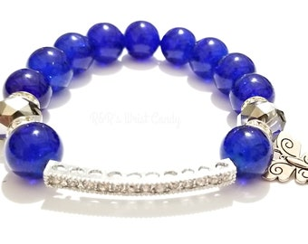 Big, Blue, Chunky Bracelet, Beaded, Stretchy, Butterfly, Rhinestone,OOAK, Boho, Minimalist, Wedding, Style Custom, Handmaded, Beaded Jewelry