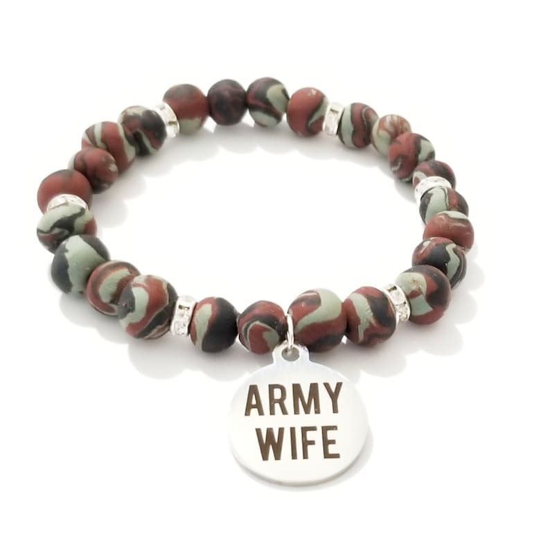 Army Wife Beaded Bracelet Clay Beads Camouflage Bracelet image 0