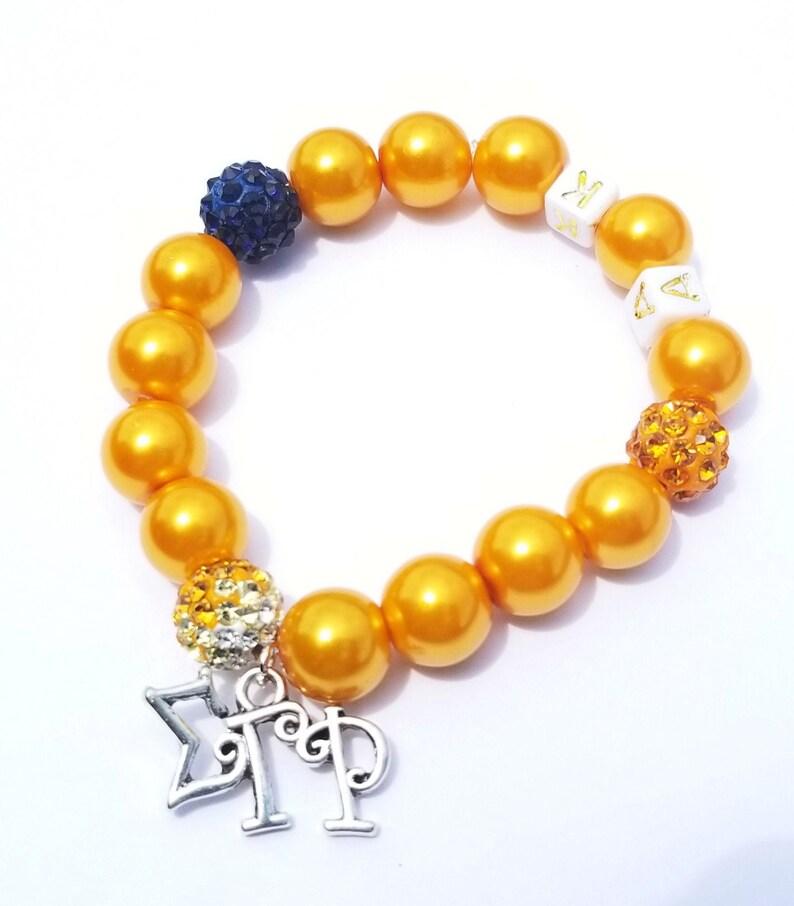 Blue and Gold Initial Bracelet Sorority Bracelets Stretchy image 0