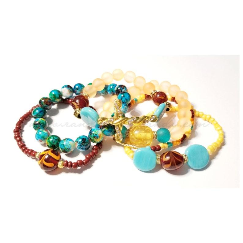 Multicolor Beaded Bracelets Colorful Cross Bracelet Yellow image 0