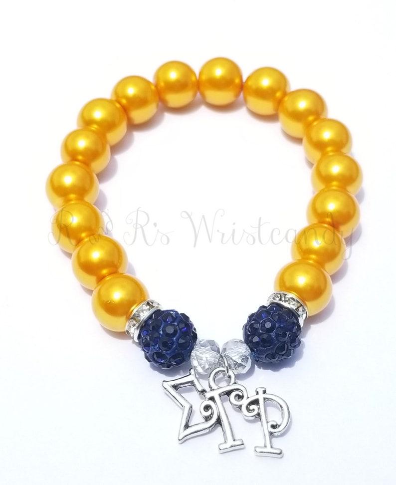 Blue and Gold Bracelet Sorority Bracelets Stretchy Womens image 0