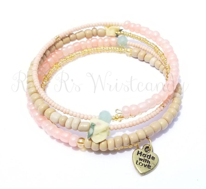 Beaded Wrap Bracelet Boho Style Coil Beaded Bracelet Memory image 0