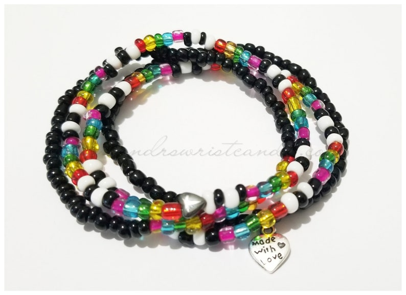 Pride Beaded Bracelets LBGTQ Rainbow Love Wins Black image 0