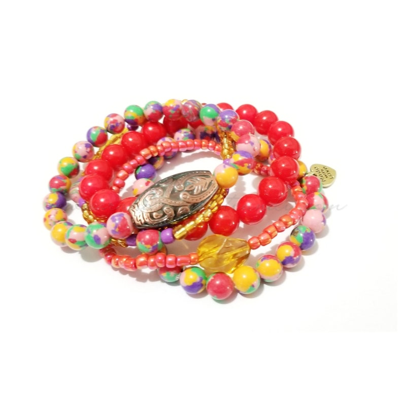 Multicolor Colorful Beaded Bracelet Set Stackable Red image 0