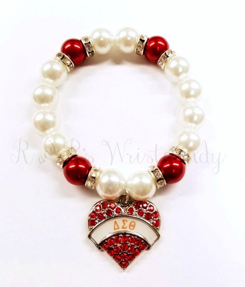 Red and White Beaded Bracelet Sorority Bracelets Stretchy image 0