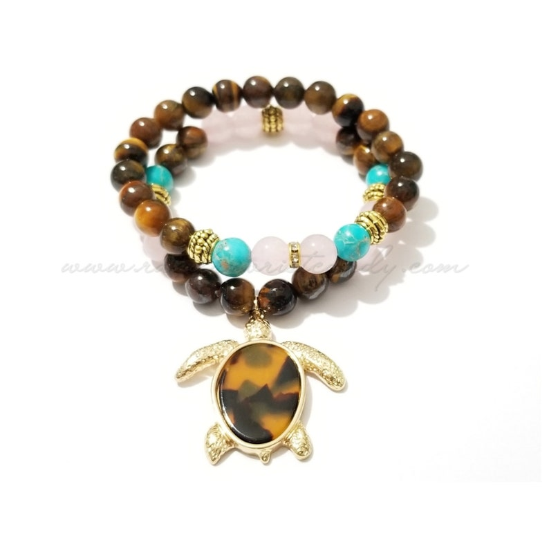 Tortoisehell Turtle Gemstone Beaded Bracelets Tigers Eye image 0
