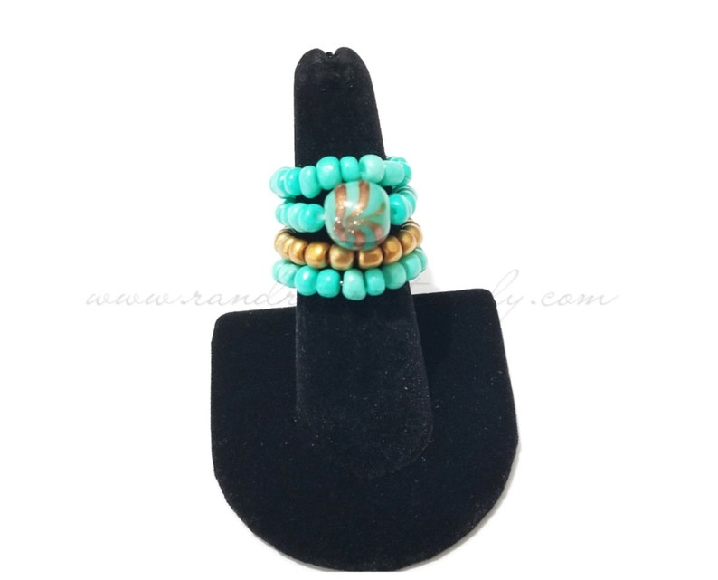 Beaded Stackable Ring Set Turquoise Rings Stretchy OOAK image 0