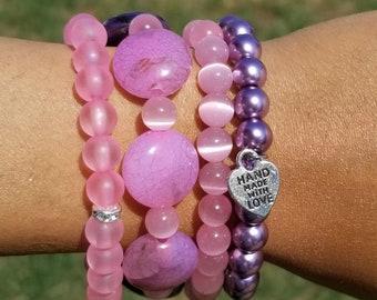 Purple, Pink Beaded Bracelets, Boho, Stretchy, Bridal, Gifts, Summer, Bracelet Stack, Minimalist, Custom, Handmade, Beaded Jewelry