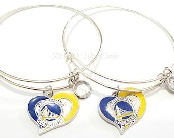 Oakland, Yellow and Blue, Basketball, Bangle, Charm Bracelet, Women Gifts, Basketball, Handmade, Custom Beaded Jewelry
