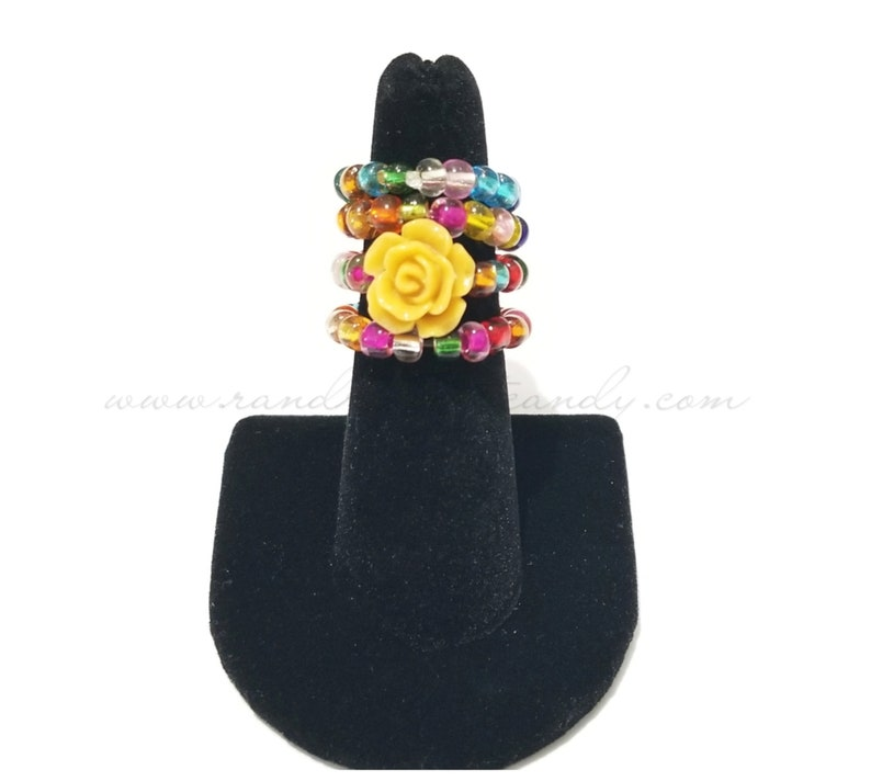 Beaded Ring Stackable Set Stretchy Flower Ring Colorful image 0