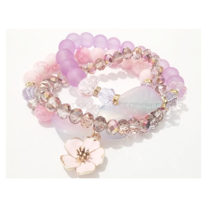 Pink and Purple Flower Beaded Bracelet Bracelet Set Wedding image 0