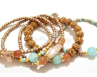 Tan, Blue, Gold, Beaded Bracelet, Stretchy,Boho,OOAK, Beach, Minimalist, Women Gifts, Custom Handmade Beaded Jewelry