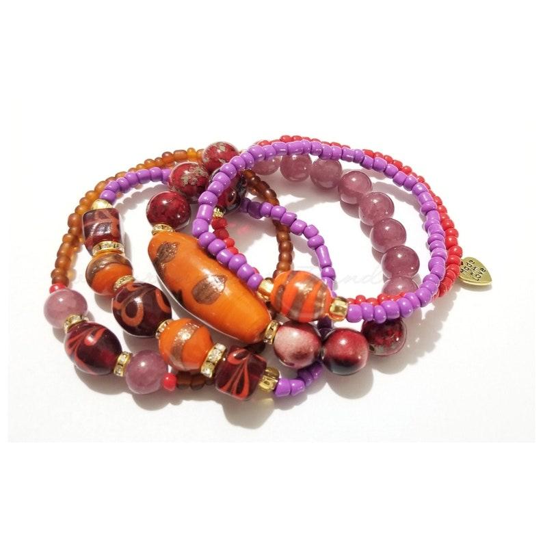 Multicolor Beaded Bracelets Colorful Bracelets Lampwork image 0