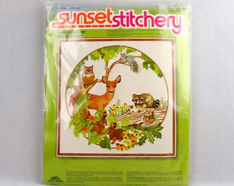 Woodland Forest Crewel Embroidery Kit Babes in the Wood Deer Racoon Owl Squirrel Chipmunk Bunny Rabbits Sunset Stitchery Vintage 1970s