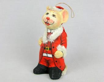 Vintage Santa Claus Mouse Paper Papier Mache Christmas Tree Ornament Display 1980 CMC Thailand City Country Mouse Rat