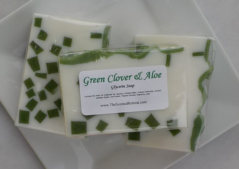Green Clover and Aloe Soap Fresh Scent Soap Green Soap image 0